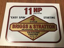 Briggs stratton mtd 11 hp decal set