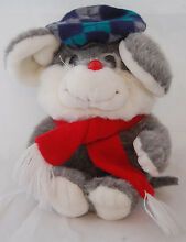 Gray mouse red nose scarf blue