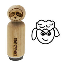 Sheep face doodle rubber stamp for