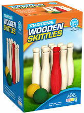Wooden skittles garden game outdoor