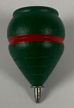 Wooden spinning top toy green red