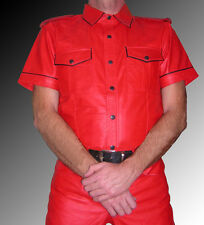 Lederhemd NEU rot Hemd Leder rot leather shirt red CHemise Cuir rouge Pelle