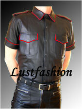 Lederhemd neu schwarz Police Hemd LEDERFUTTER leather shirt LEATHER LINING Cuir