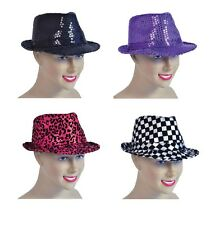 SEQUIN FEDORA HAT FANCY DRESS BLACK SEQUIN HAT PARTY
