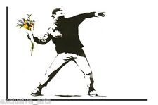 INSPIRING BANKSY GRAFFITI FLOWER BOMBER PICTURE WALL ART CANVAS PRINT