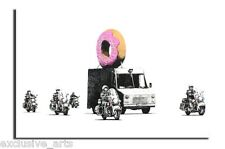 INSPIRING BANKSY GRAFFITI DONUT VAN CANVAS ART PICTURE VARNISHED PRINT