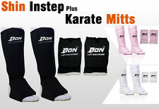 Set of Shin Instep Pads  +  Karate Mitts Muay Martial Art Guard Boxing (AGE 5-9)