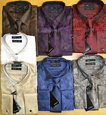 MENS TWO TONE SHIRT PAISLEY WEDDING PARTY PROM FUNCTION DOUBLE CUFF CUFF LINKS