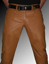 Lederhose neu Police Style Lederjeans braun Hose Leder gay leather pants brown