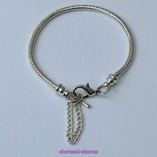 Silver Plated Lobster Clasp 3mm Snake Chain Charm Bead Bracelet and Safety Chain