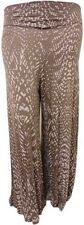 LADIES ANIMAL PRINT MOCHA WAIST BAND PALAZZO TROUSERS FLARED BOTTOM PANTS 14-26