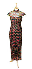 Chinese Hand Embroidered Womans Cheongsam Evening Dress QiPao Black & Red Roses
