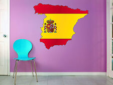 Spain - Spanish Flag with Territory - Vinyl Wall Poster