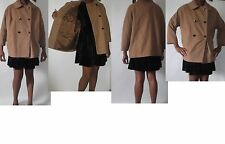 womens brown Carmel double breasted button winter wool jacket coat uk size 6-16