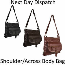 New Ladies Shoulder Handbag Womens Across Bag Leather Style Vintage Tote BNWT