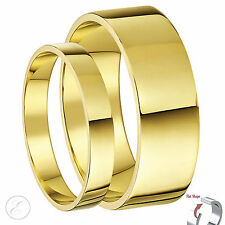His & Hers 9ct Yellow Gold Flat Wedding Ring Bands 3&6mm 5&6mm