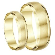 9ct Yellow Gold His & Hers Designed Wedding Ring Bands 4&6mm 5&7mm