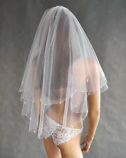 "New Women 2 Tier Wedding Bridal Elbow Luxury Veil With Comb 30"" -400 Beads"