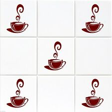 30 Coffee Cups Kitchen Wall Stickers cafe Tiles Wall Mural Vinyl Art Decals D1