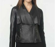 Women Black Soft Sheep Skin Real Stylish Draped Collar Leather Jacket