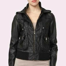 Women Black Soft Sheep Skin Real Stylish Hooded Biker Leather Jacket