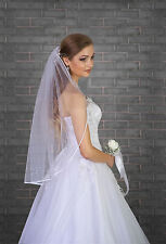 "New 1 Tier Ivory White Wedding Bridal Elbow Satin Edge Veil Length 32"" with Comb"