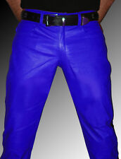 Lederhose Police Style Lederjeans blau schwarz gay leather pants trousers blue