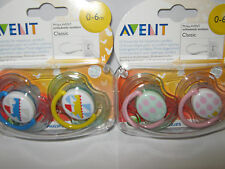 PHILIPS AVENT  CLASSIC ORTHODONTIC SOOTHER  0-6 MONTH BOYS/GIRLS  BPA FREE