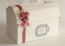 Personalised Vintage Rose Pearls  Wedding Card Post Box Chest Wishing Well