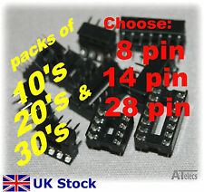 IC Sockets 8 14 28 pin DIL DIP socket Low Profile 10, 20 or 30 pack - UK Stock
