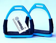 FLEXI SAFETY STIRRUPS HORSE RIDING BENDY IRONS STAINLESS STEEL SKYBLU COLOR BNWT