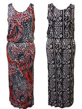 NEW WOMENS PLUS SIZE LEOPARD RETRO PRINTED SLEEVELESS STRETCH MAXI DRESS 14-28