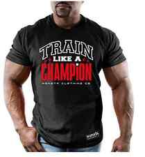 Monsta Clothing Bodybuilding Mens Wear CHAMPION BLACK Graphic T Shirt Gym New
