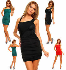 Sexy Women Clubbing Ruched Party Mini Dress Beads Party Top Size 6 8 10 12 S