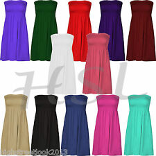 LADIES PLAIN SHEERING BOOB TUBE TUNIC PARTY DRESS TOPS LOOSE COLORS SIZES 8-14