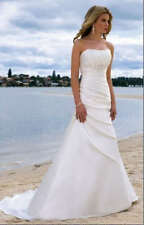 Simple White Ivory Bridal Beach Gown A-line Wedding Dress 8 10 12 14 16 Custom