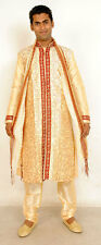 Gold  Mens Semi wedding Sherwani Indian Designer Kurta 3pc with shawl size