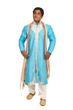 Blue  Mens Semi wedding Sherwani Indian Designer Kurta 3pc with shawl size