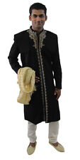 Black Formal Men Royal Sherwani IndoWestern Jacket Blazer Traditional Embroidery