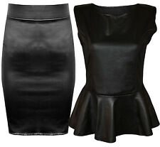 Womens Plus Size Black Shiny Wet Look Peplum Skater Top Stetch Midi Skirt