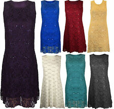 Ladies Plus Size Floral Lace Sequins Stitched Lined Fitted Vest Dress