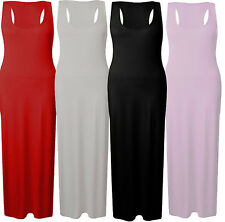 New Womens Plus Size Racer Back Stretch Maxi Dress Fitted Vest Jersey Maxi Dress
