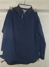 NEW BOYS COTTON DRILL SHIRT BLUE & WHITE SIZES S M  L AND XL