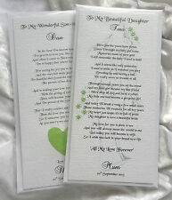 Parents of the Bride To Daughter & Son-in-law Card Personalised Keepsake Poem