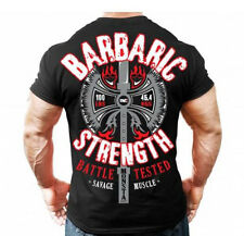 Monsta Clothing Mens Graphic T SHIRT Bodybuilding BARBARIC STRENGTH T-Shirt New