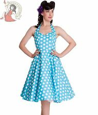 HELL BUNNY 50's MARIAM polka dot DRESS AQUA BLUE