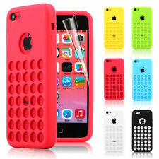 COLOURFUL TPU SILICONE BACK CASE COVER FOR NEW APPLE iPHONE 5C RETRO DOTS HOLE