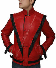 Michael Jackson Thriller Mens Real Red Leather Jacket