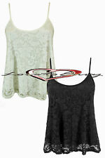 Womens Elegant Floral Lace Scoop Neck Cropped Strappy Swing Cami Vest Top 8-20