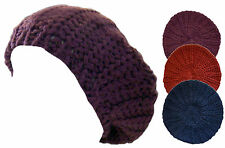 Ladies Beret Hat Chunky Knitted Beanie Womens Girls Cap Ski Winter Warm New
